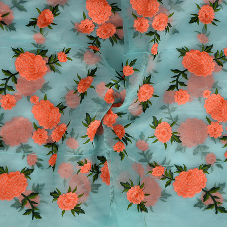 Blue Organza Fabric With Orange and Green Flower Embroidery-50084