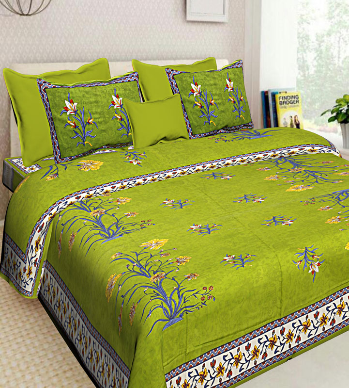 Blue Parrot Green Cotton Jaipuri Bedsheet-645