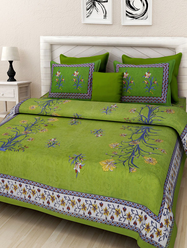 Blue Parrot Green Cotton Jaipuri Bedsheet-664