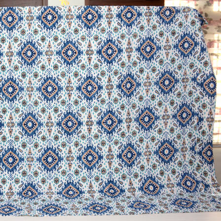 Blue-Peach and Cream Indian Handmade Kantha Quilt-4344