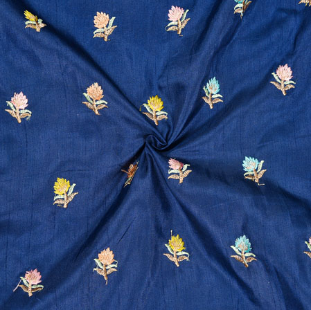 Blue Peach and Yellow Embroidery Silk Paper Fabric-18571