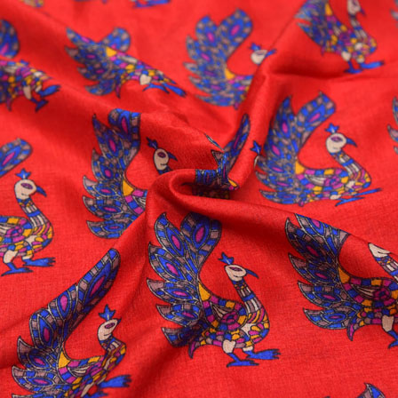 Blue Peacock Pattern On Red Kalamkari Manipuri Silk-16123