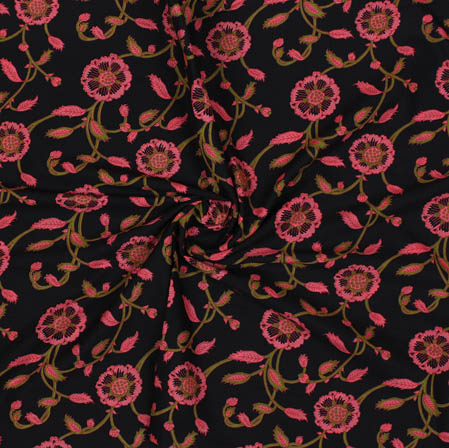 Blue Pink Block Print Cotton Fabric-14930