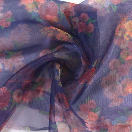 Blue Pink Digital Floral Organza Silk Fabric-51808