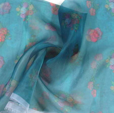 Blue Pink Digital Floral Organza Silk Fabric-51810
