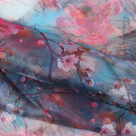 Blue Pink Digital Organza Silk Fabric-51549
