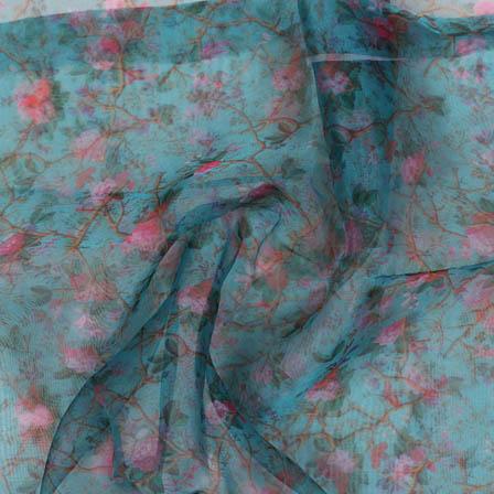 Blue Pink Digital Organza Silk Fabric-51722