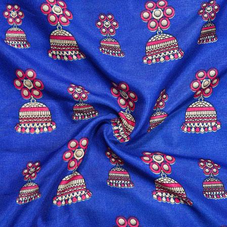 Blue Pink Earring Print Manipuri-Silk Fabric-18092
