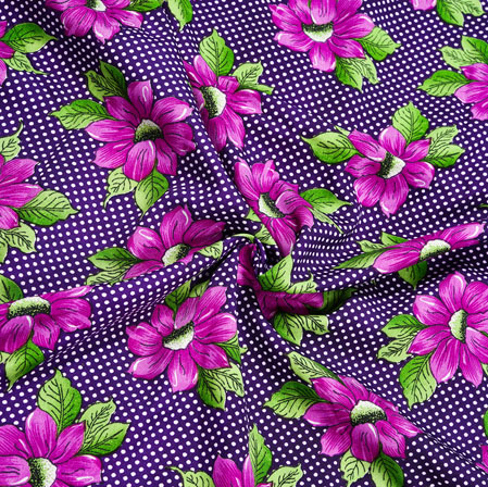 Blue Pink Floral Crepe Silk Fabric-41000