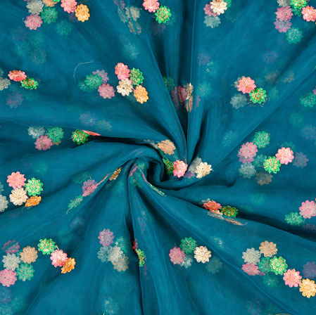 Blue Pink Floral Net Embroidery Fabric-19232