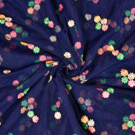 Blue Pink Floral Net Embroidery Fabric-19235