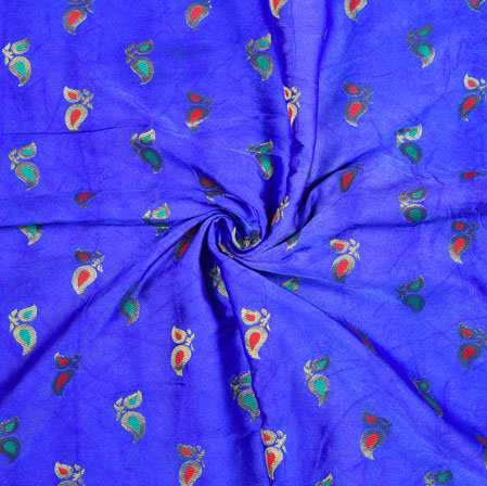 Blue Pink Floral Satin Brocade Meena Fabric-12928