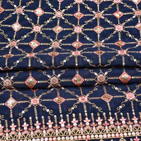 Blue Pink Flower Georgette Panel Work Fabric-19228