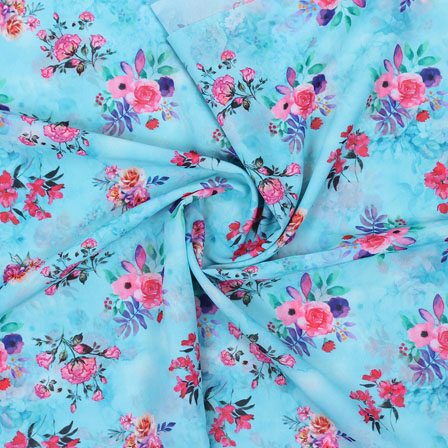 Blue Pink Flower Georgette Silk Fabric-15244