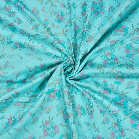 Blue Pink Flower Jam Cotton Print Fabric-28206