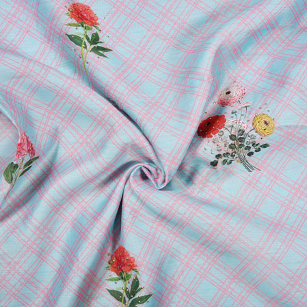 Blue Pink Flower Muslin Digital Print Fabric-28208