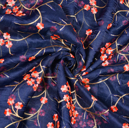Blue Pink Flower Organza Embroidery Fabric-22255