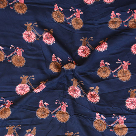 Blue Pink and Brown Cycle Print Rayon Fabric-15198