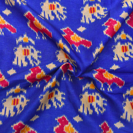 Blue-Pink and Cream Elephant Design Kalamkari Manipuri Silk-16058