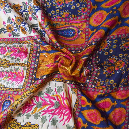 Blue-Pink and Cream Paisley Pattern Kalamkari Manipuri Silk-16112