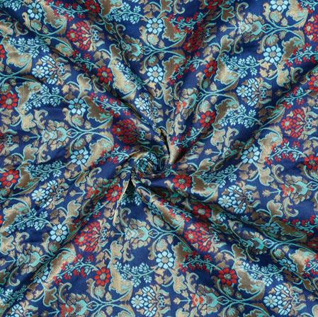Blue Pink and Cyan Kinkhab Banarasi Brocade Silk Fabric-12826