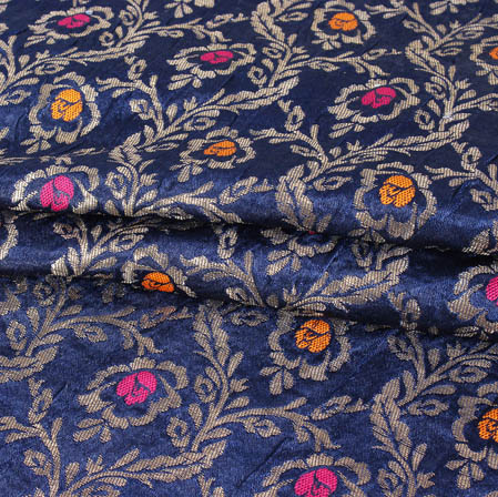 Blue Pink and Golden Floral Banarasi Silk Fabric-9417