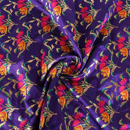 Blue Pink and Golden Floral Banarasi Silk Fabric-9445