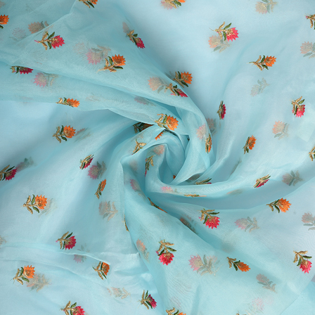 Blue-Pink and Golden Floral Organza Embroidery Fabric-51175