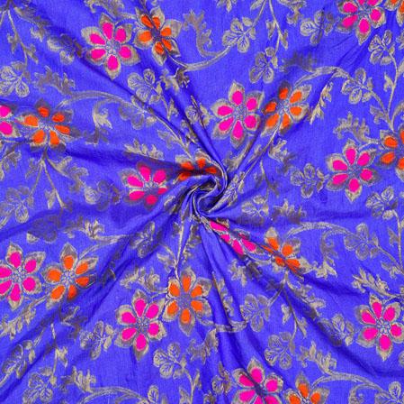 Blue Pink and Golden Floral Satin Brocade Silk Fabric-12693