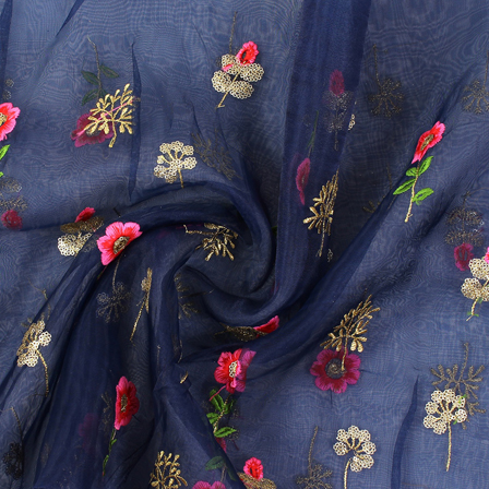 Blue-Pink and Golden Flower Design Embroidery  Silk Organza Fabric-50030