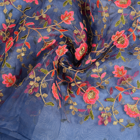 Blue-Pink and Golden Flower Embroidery Organza Fabric-51156