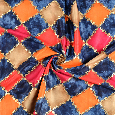 Blue-Pink and Golden Square Design Jam Cotton Silk Fabric-75047