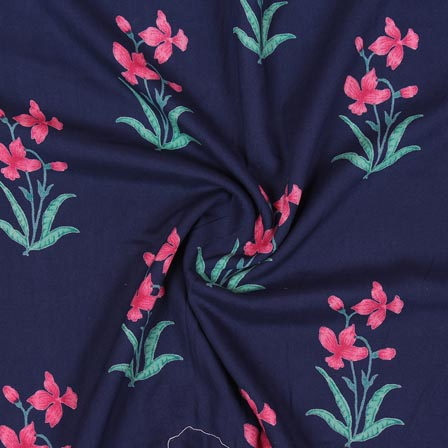 Blue Pink and Green Block Print Rayon Fabric-14888