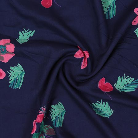 Blue Pink and Green Block Print Rayon Fabric-14912