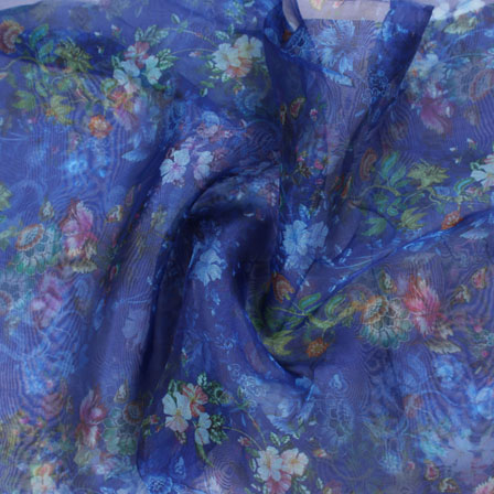 Blue Pink and Green Digital Organza Silk Fabric-51614