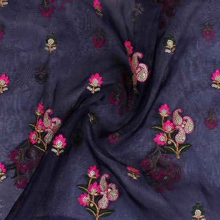 Blue Pink and Green Embroidery Organza Silk Fabric-51630