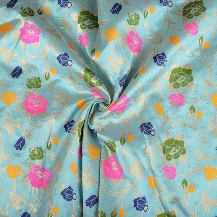 Blue-Pink and Green Floral Digital Brocade Fabric-24069