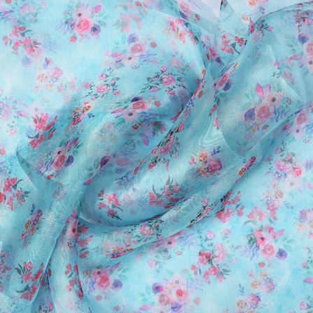 Blue-Pink and Green Flower Design Silk Organza Fabric-51022