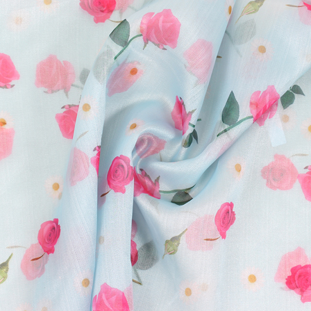 Blue-Pink and Green Flower Organza Digital Print Fabric-51372