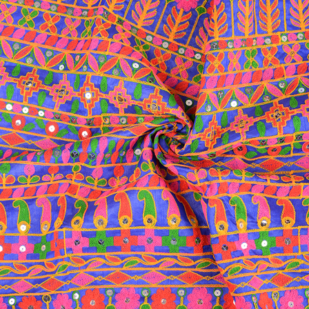 Blue-Pink and Green Gujrati Embroidery Fabric-60583