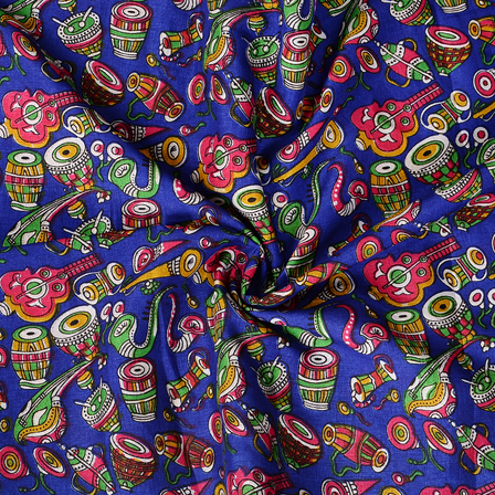 Blue-Pink and Green Musical Instrument Design Manipuri Kalamkari Silk Fabric-16181
