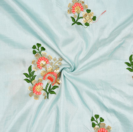 Blue Pink and Green Embroidery Silk Paper Fabric-18580
