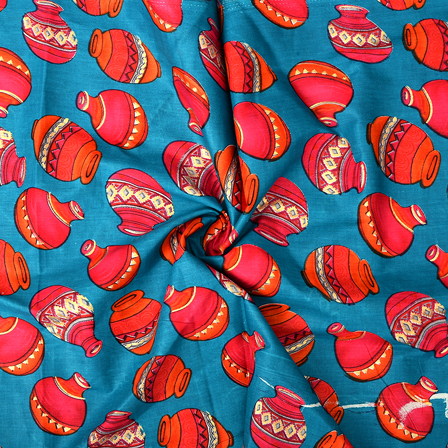 Blue-Pink and Orange Cotton Jam Silk Fabric-75096