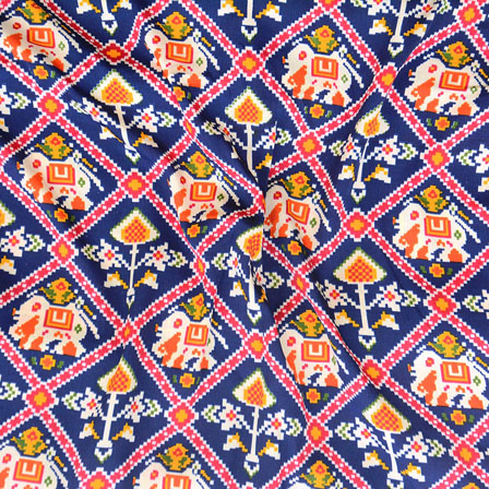 Blue Pink and Orange Elephant Crepe Silk Fabric-18224