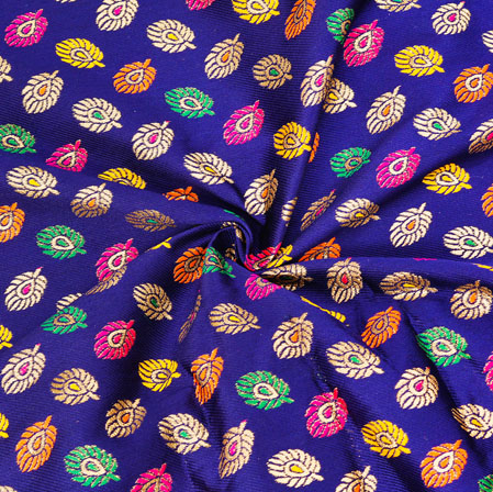 Blue Pink and Silver Leaf Banarasi Silk Fabric-12610