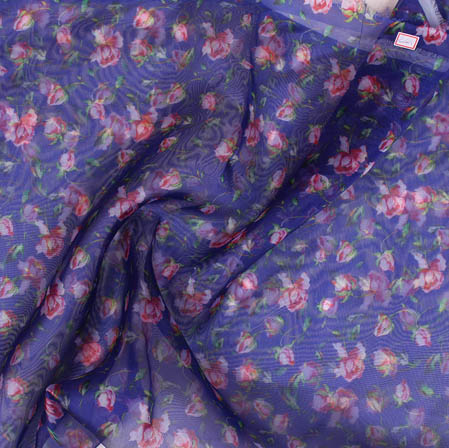 Blue Pink and White Digital Floral Organza Silk Fabric-51739