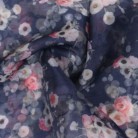 Blue Pink and White Digital Organza Silk Fabric-51610
