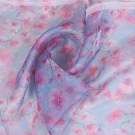 Blue Pink and White Digital Organza Silk Fabric-51656