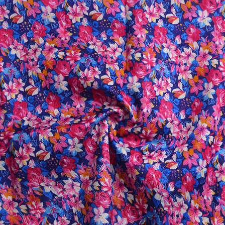 Blue-Pink and White Flower Pattern Banglori Silk Fabric-4892