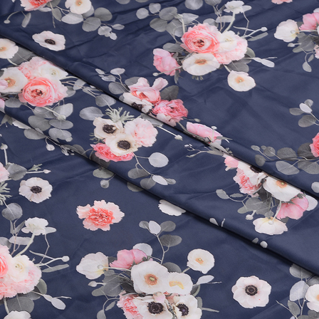 Blue-Pink and White Flower Silk Crepe Fabric-18109